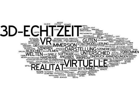 scenarios: Word cloud of 3-D real time in German Stock Photo