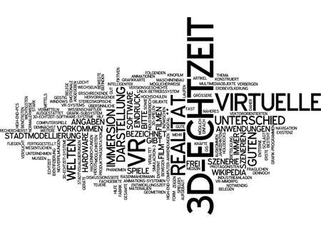 scenarios: Word cloud of 3-D real time in German Stock Photo
