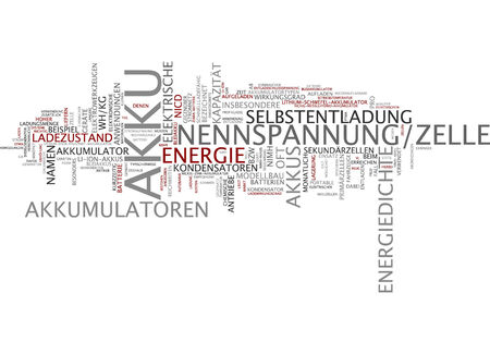 accumulator: Word cloud of accumulator in German language Stock Photo