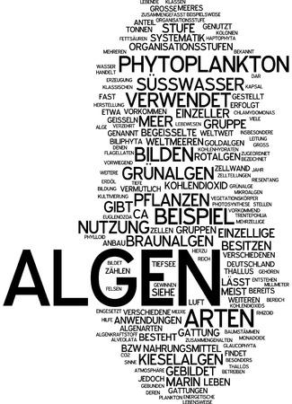 unicellular: Word cloud of seaweed in German language