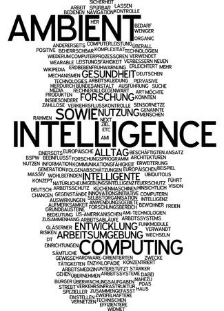 Word cloud of ambient intelligence in German language photo