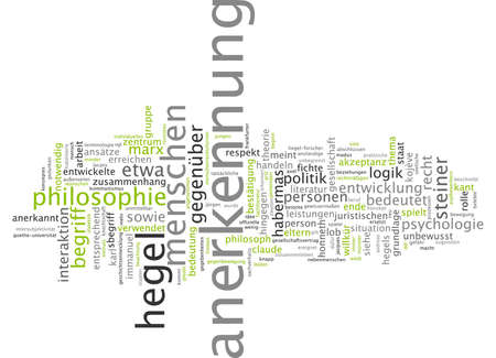 acknowledgment: Word cloud of recognition in German language Stock Photo