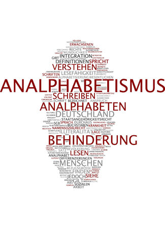 illiteracy: Word cloud of illiteracy in German language