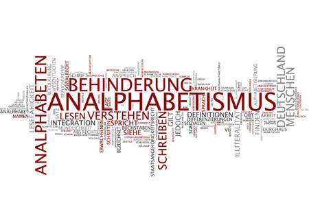 illiteracy: Word cloud of illiteracy in German language