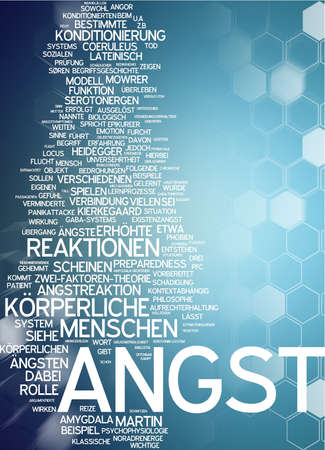angst: Word cloud of angst in German language Stock Photo