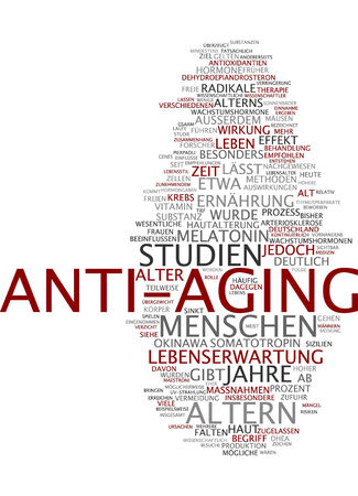 expectancy: Word cloud of anti-aging in German language Stock Photo