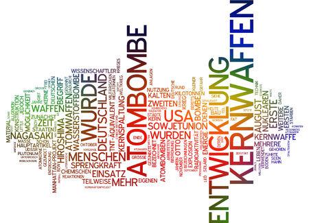 bomba atomica: Nube de palabras de la bomba at�mica en lengua alemana Foto de archivo