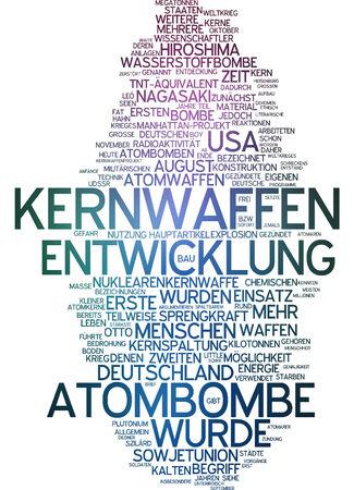 Word cloud of atomic bomb in German language photo