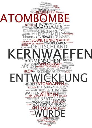 bomba atomica: Palabra nube de bomba at�mica en lengua alemana
