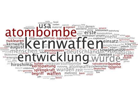 bomba atomica: Nube de palabras de bomba at�mica en lengua alemana Foto de archivo