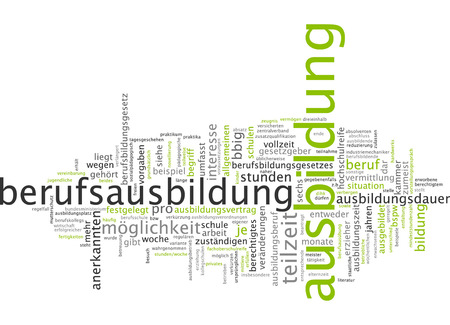 Word cloud of vocational training in German language