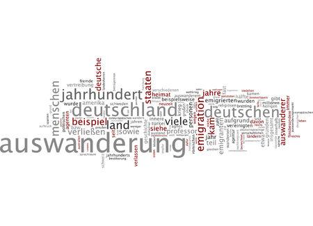 emigrant: Word cloud of emigration in German language Stock Photo