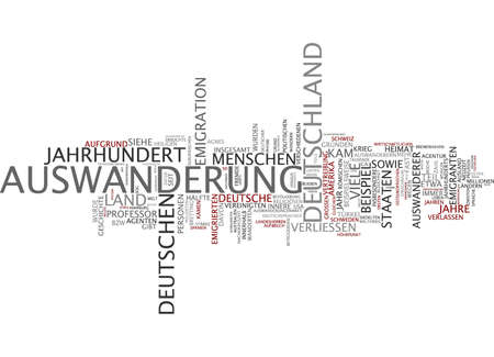 emigration: Word cloud of emigration in German language Stock Photo
