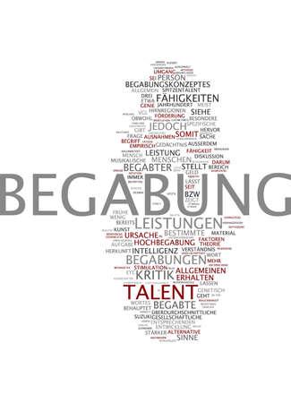 Word cloud of talent in German language photo
