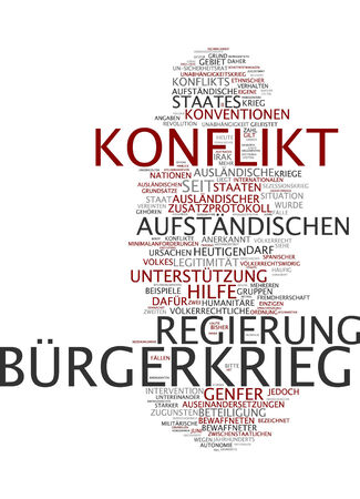 legitimacy: Word cloud of civil war in German language Stock Photo