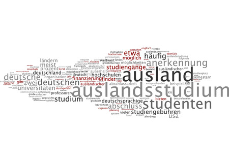 abroad: Word cloud of studying abroad in German language