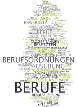 the strongest: Word cloud of occupations in German language Stock Photo