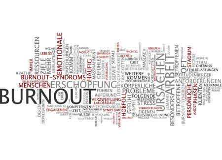 Word cloud of burnout in German language photo