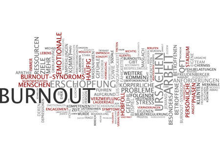 Word cloud of burnout in German language photo