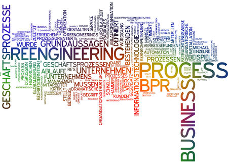 business process reengineering: Word cloud of reengineering business process in German language