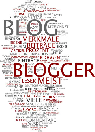 Word cloud of blogger in German language photo