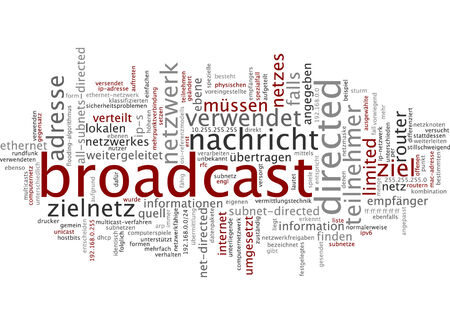 Word cloud of broadcast in German language photo