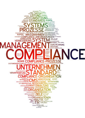 Word cloud of compliance in German language photo