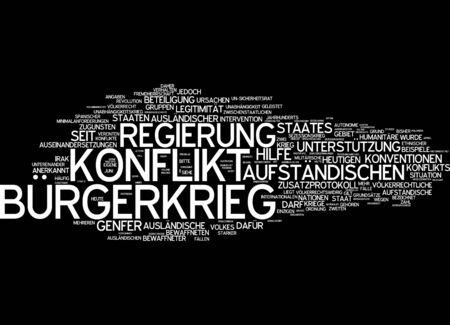 insurgents: Word cloud of civil war in German language Stock Photo