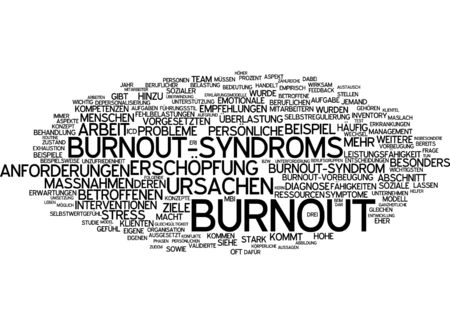 particularly: Word cloud of burnout in German language