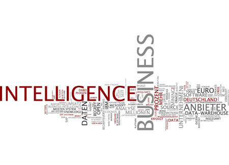 Word cloud of business intelligence in English and German language photo