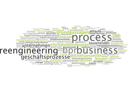 reengineering: Word cloud of reengineering business process in German language