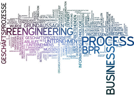 Word cloud of reengineering business process in German language photo