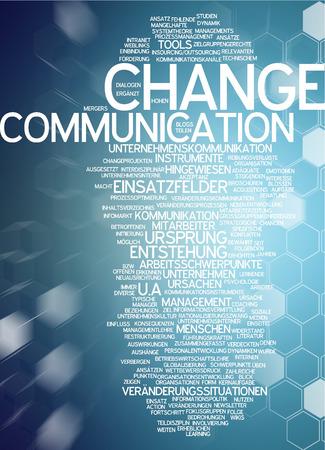 Word cloud of change in German language Stock Photo