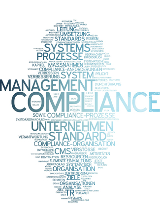 observance: Word cloud of compliance in German language Stock Photo
