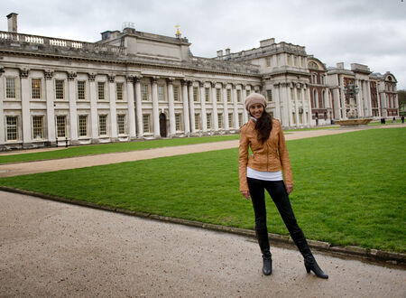 greenwich: Woman in Front of Old Royal Naval College and Grounds in Greenwich, London, England Editorial