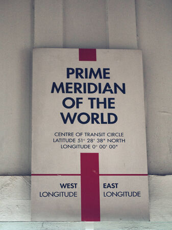 meridian: Prime Meridian of the World Sign in Greenwich Observatory, England