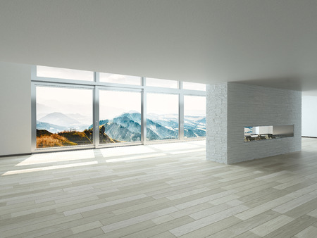unfurnished: Elegant Architectural Empty Building Interior Design with Transparent Glass Window Style. Stock Photo