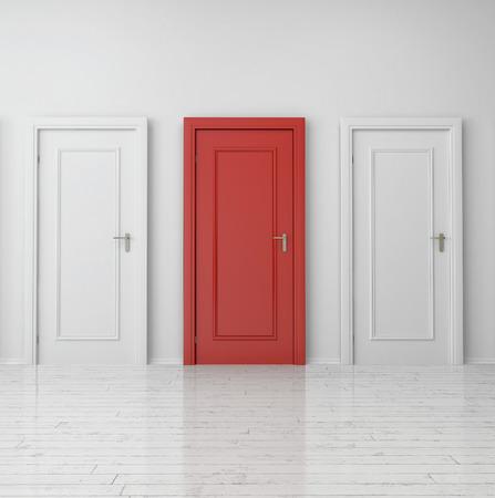 puertas de madera: Cierre de Puerta �nica Roja entre dos puertas blancas en Wall llanura interior del edificio.