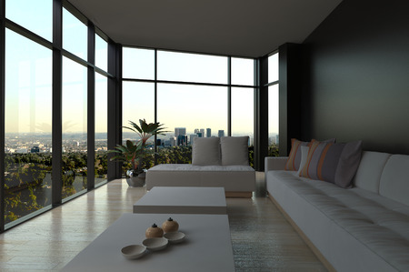 view of an elegant living room: White Couches and Tables in an Elegant Architectural Living Room with an Overlooking Outside View from Big Glass Windows. Stock Photo
