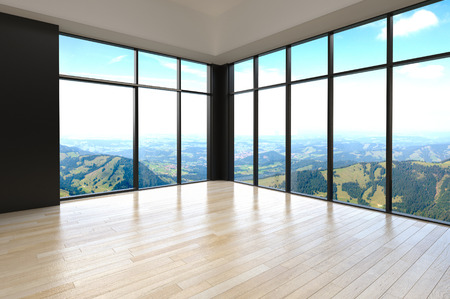 view to outside: Simple Empty Architectural Room with Glass Window Designs for Overlooking Outside View.