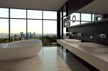 Elegant Architectural Bathroom Design with an Overlooking Outside View from Transparent Glass Windows