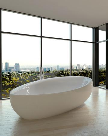 bath tub: White Shiny Ceramic Bathtub at Elegant Bathroom with Transparent Large Glass Windows.