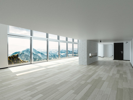 unfurnished: Beautiful Architectural White Interior Design with Glass Windows Style. Stock Photo