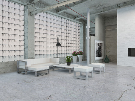 windowpanes: Simple Architectural Interior Loft Area with White Table and Chairs and Stylish Wall Design.