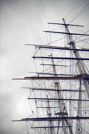 schooner: The three wooden masts and rigging of Sailing Boat or Clipper