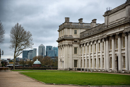 british weather: Old Royal Naval College with Cloudy Sky in Greenwich, London, England