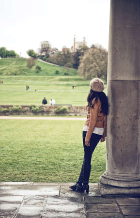introspective: Woman Looking at Grounds of National Maritime Museum, Greenwich, London, England
