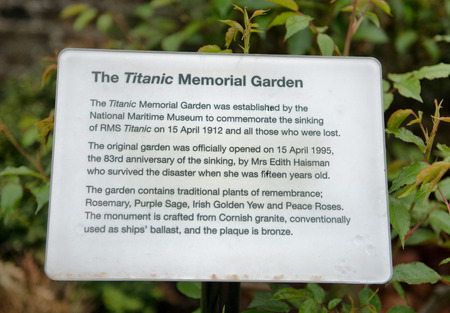 titanic: Information plaque at the Titanic Memorial Garden with the plants of remembrance planted in the garden and material used in the memorial to those who lost their lives when the RMS Titanic sank in 1912 Editorial