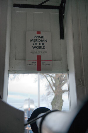 Prime Meridian Marker at Greenwich Observatory, London Editorial