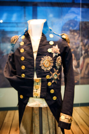 epaulets: Uniform of Viscount Horatio Nelson at the National Maritime Museum in Greenwich London that he was wearing when he was shot at the Battle of Trafalgar Editorial